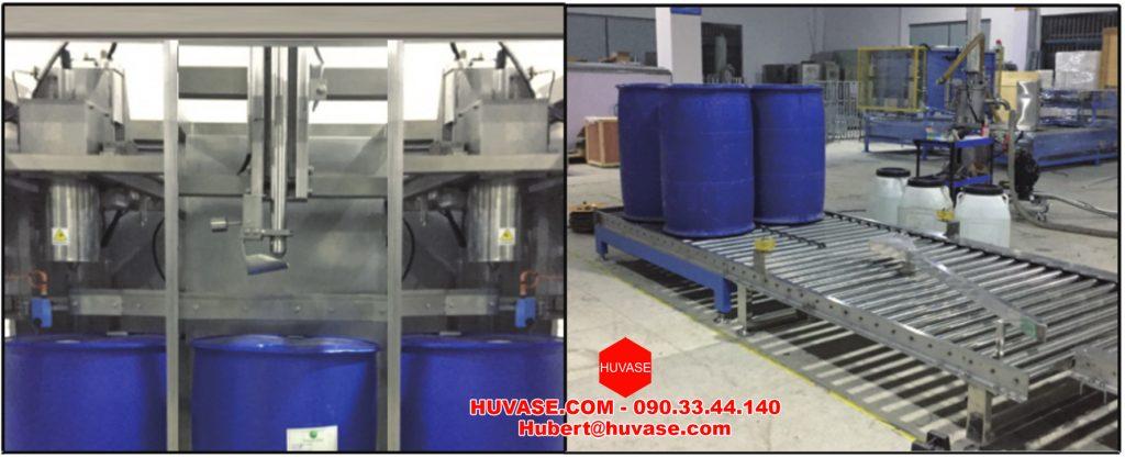 Máy chiết rót, đóng gói chất lỏng chủ yếu được sử dụng trong các ngành công nghiệp như Sơn, Mực In, …. phù hợp cho việc đóng gói và đóng nắp tự động với nhiều dung tích khác nhau 1-5L, 10 – 20L, 50L, 100L, 200L,…