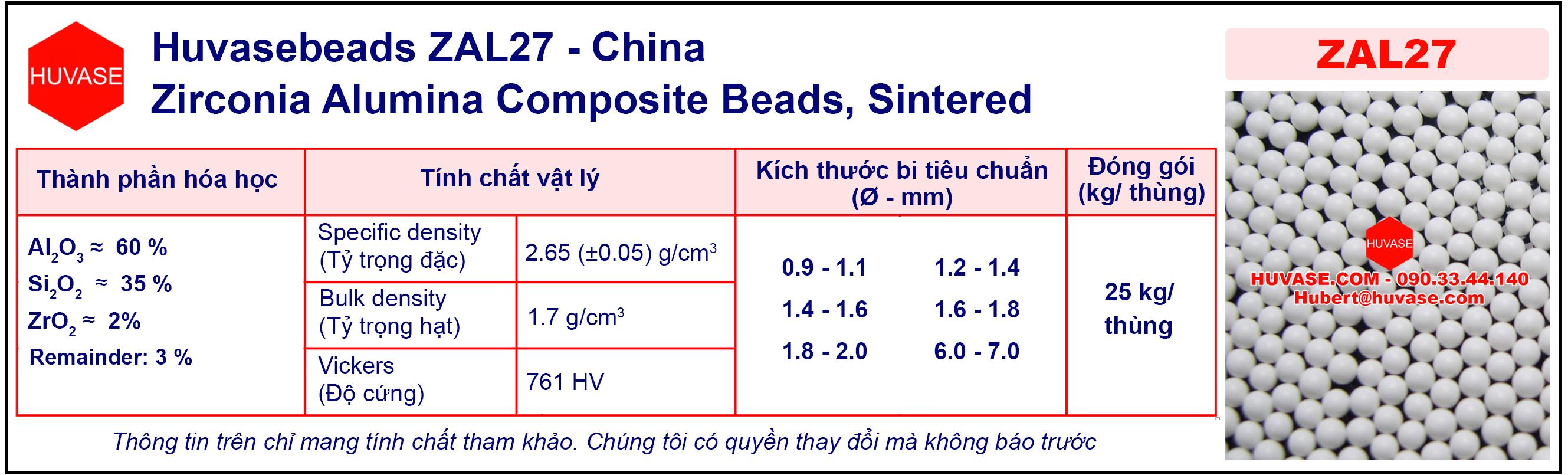 Thông số kỹ thuật của bi nghiền ZAL32 - Bi nghiền ceramic (bi sứ)