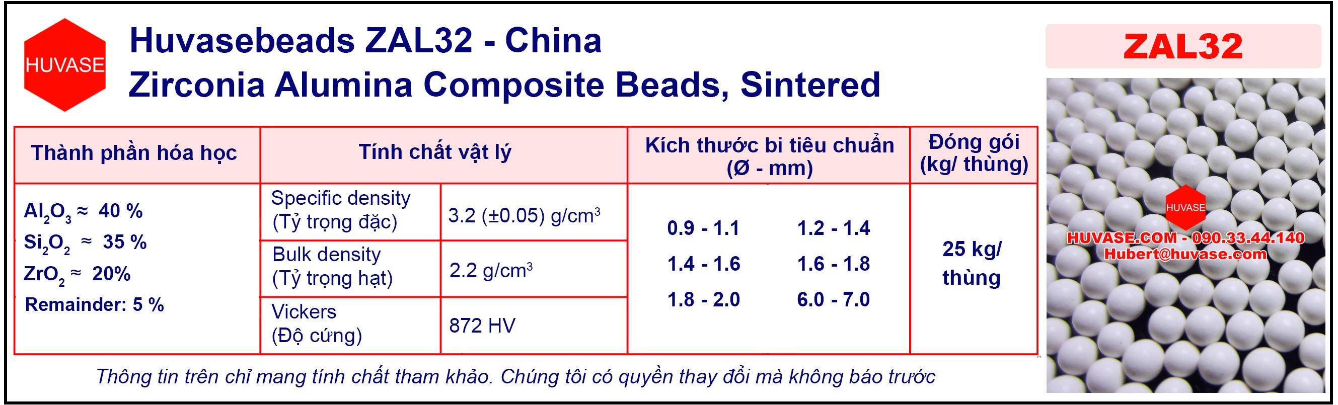 Thông số kỹ thuật của bi nghiền ZAL32 - Bi nghiền sứ (bi ceramic)
