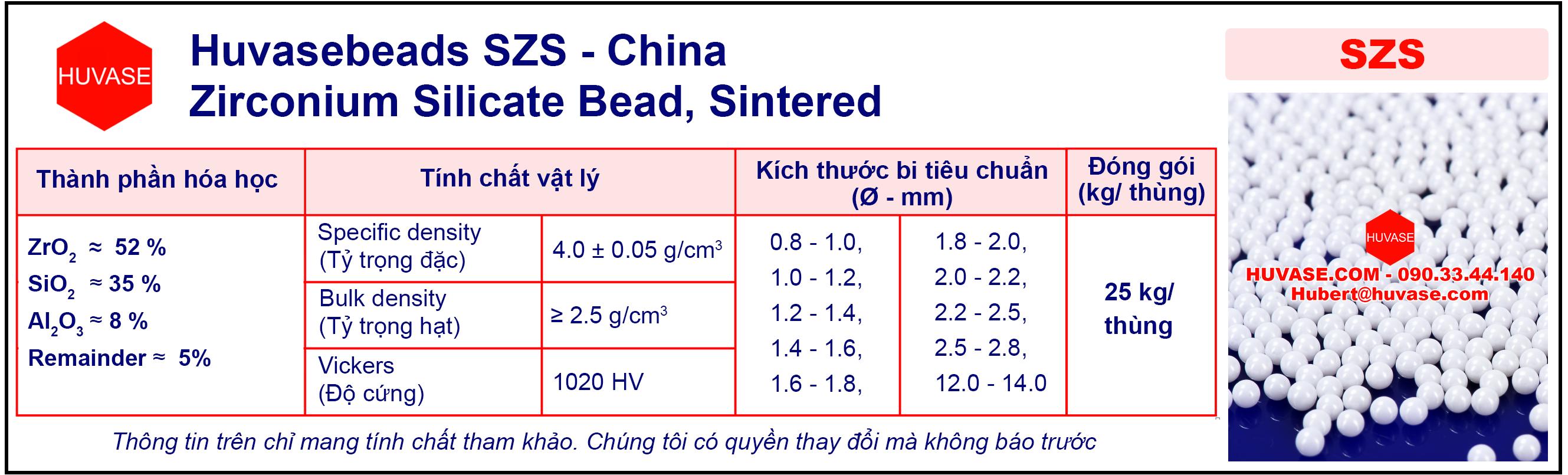 Thông số kỹ thuật bi nghiền SZS - Bi nghiền sứ (bi ceramic)