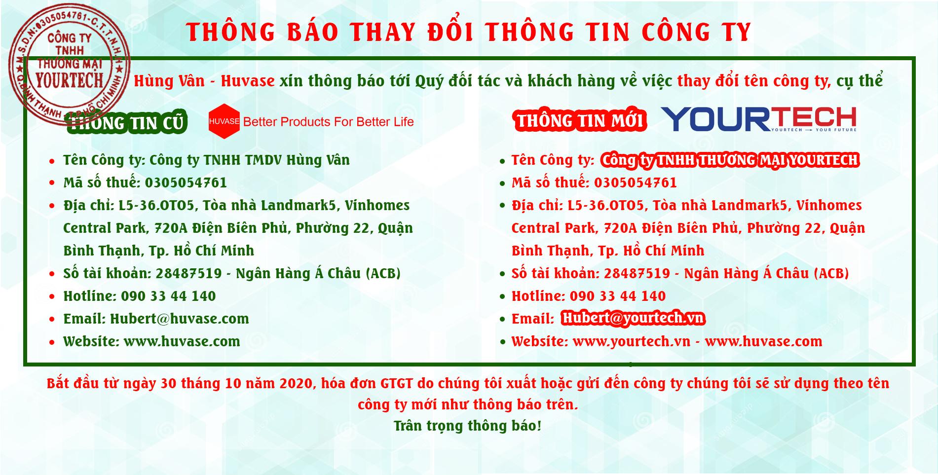 Công ty Hùng Vân đổi tên thành Công ty TNHH thương mại Yourtech